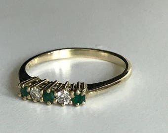 14 KT Gold Emerald and Diamond Ring