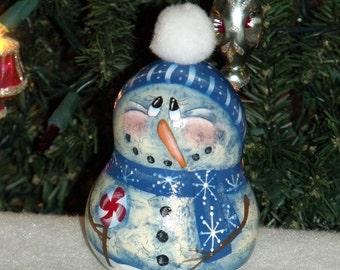 "Hand Painted 5-1/2"" Snowman Gourd/Ornament - Gourds - Tree Decor - Home Decor - Holiday Decor - Snowman - Original Design - Tole painting"