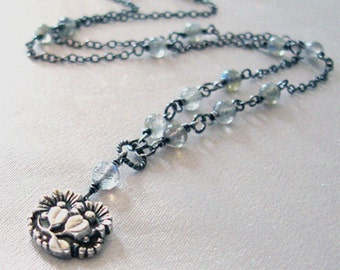 Labradorite Gemstone Fine Silver Daisy Pendant, Eco Friendly Silver, One of a Kind Necklace