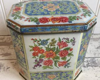 Vintage Tins - Daher Tea Biscuit Candy Tin - Blue Floral Hexagon