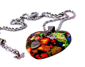 Rainbow Sea Sediment Jasper Pyrite Heart Pendant Necklace- 316 L Stainless Steel Chain, Stainless Heart & Butterfly Charms, Bright Jewelry