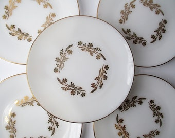 Vintage Federal Dinner Plates Meadow Gold 22 Kt Gold Set of Five - Retro Chic