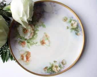 Antique Decorative Plate Austrian Wahliss Purple White Floral
