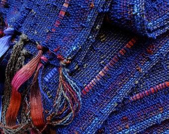 handwoven scarf in lightweight navy blue
