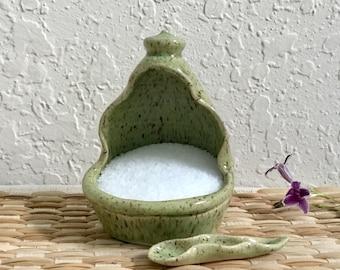 Ceramic Salt Pig with Handcrafted Spoon - Handmade Ceramic Salt Cellar - Stoneware Salt Dish - Green - Salt Container