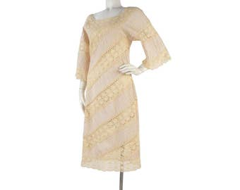 Vintage 60s Dress - Vintage 70s Dress - Mexican Wedding Dress - Pintucked Dress - Sheath Dress - Boho Dress - Tan Dress - 60s Wedding Dress