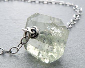 Green Amethyst Necklace, Sterling Silver, Prasiolite Necklace, Single Stone, Minimalist Prasiolite Jewelry, Light Green Stone, #4781