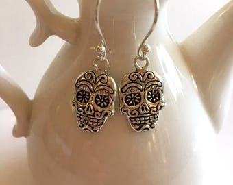 Sterling Silver Earrings-Sugar Skull Silver Earrings