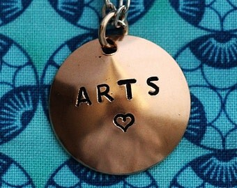 ARTS Necklace, Handstamped Bronze Pendant, Domed Charm, Stamped Necklace Jewelry Handmade by Hendywood