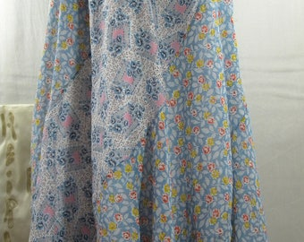Romantic Spring  recycled and Vintage Batiste cotton Retro Patchwork Swirl Skirt