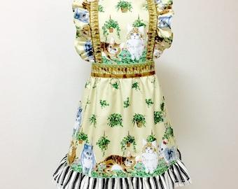 Apron / Lolita Apron / Dress Apron -  Cats on the Piano --- Cream