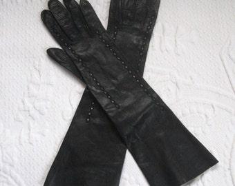 Vintage Long Black Kid Leather Gloves . French black leather gloves . long black kid leather gloves