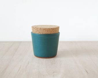 mini cork jar, teal.
