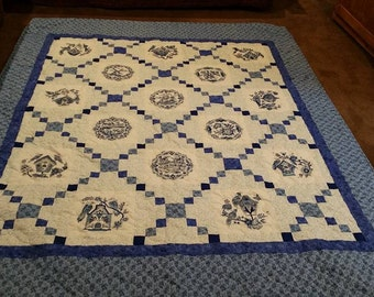 Delft Blue Embroidered Quilt