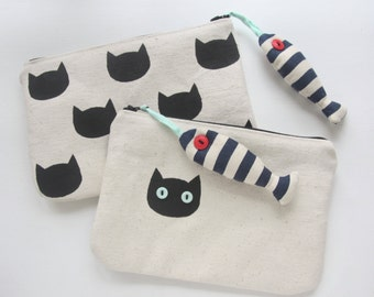 The Cat & Tuna Canvas Pouch