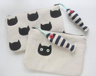 The Cat & Tuna Canvas Pouch