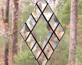 Stained Glass Suncatcher -  Clear Diamond Bevel with Small Clear Diamond Beveled Border, Curled Wire