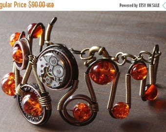 HAPPY HOLIDAYS SALE - Steampunk Jewelry -  Bracelet - Antique copper and Amber Glass