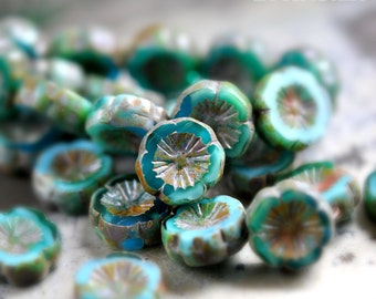 Little Mia - Premium Czech Glass Beads, Opaque Turquoise, Translucent Capri Blue, Picasso Finish, Hawaiian Flowers 14mm - Pc 4