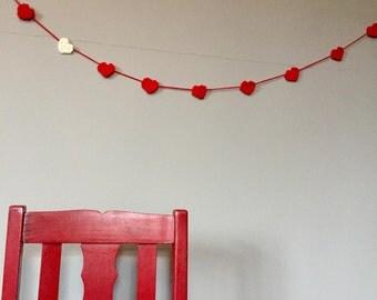 Heart crochet knit garland string crimson scarlet red
