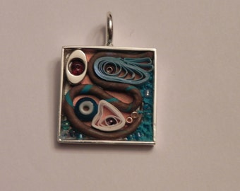 Abstract Blue Silver Brown & Copper Square Silver Pendant