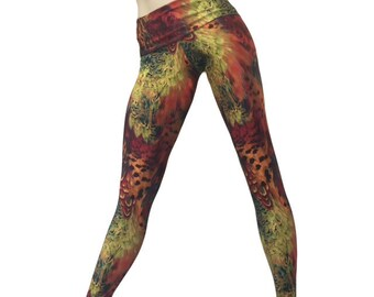 Yoga Pants - Workout Clothes - Hot Yoga - Fitness - Feathers - High Waist Pant - Fold Over - Legging - SXY Fitness - Handmade - USA -