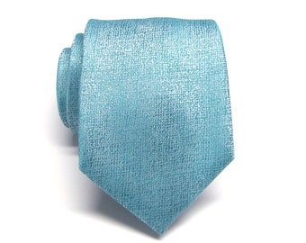 Mens Tie. Light Blue and Ivory Mens Necktie with Matching Pocket Square Option
