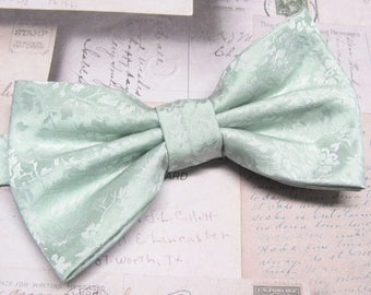 Mens Bowties. Dusty Mint Green Floral Bow tie With Matching Pocket Square Option