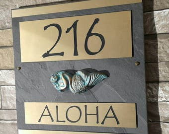 Mermaid Address Plaque Coastal House Numbers