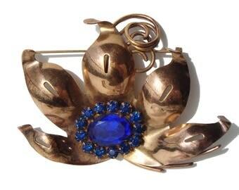 Vintage 40s Brooch Art Deco Blue Rhinestone & Copper Flower Pin