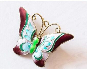 NOW  ON SALE Art Deco Silver Gilt,Acqua and Maroon Enamel Butterfly Brooch,Pin/ Pendant;Dual Purpose,Spring SummerJewelry