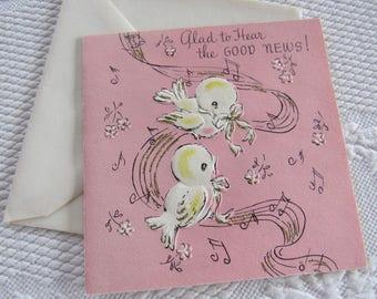Unused Vintage 1950s GET WELL Good News Greeting Card Good Health Little Birds Singing Pink Flowers