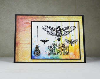 Handmade Greeting Card, Moth with Lightbult, Darkest Moments