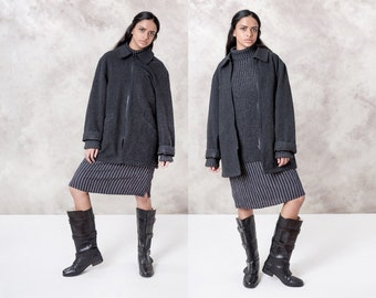 WOOL jacket OVERSIZE coat black grey CARDIGAN sweater Lauren Ralph vintage Large / Xl women boxy cozy / better Stay together