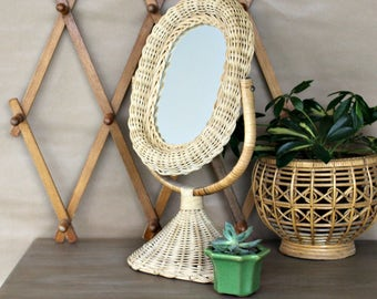 Vintage wicker vanity mirror, natural, boho make up mirror