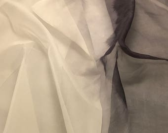 OMBRE Hand Dyed Silk ORGANZA Fabric White to Gray 1/2 Yard