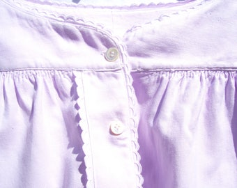 Vintage Antique German Flannel Nightgown Small Lavender