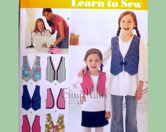 SIMPLICITY 2293 Child's and Girls' Lined Vests with Trim Variations SIZE K5 7, 8, 10, 12, 14  - Sewing Pattern Uncut