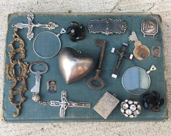 Victorian Destash Lot Antique Findings Skeleton Key Escutcheon Tin Types Monocle Gothic Noir Jewelry Supply Lot Antique Charms Pendants