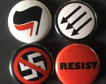 "anti nazi, anti fascist, resist set 1"" buttons"