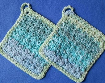 Two Bumpy Cotton Washcloths, handmade crochet washcloth dishcloth set - shades of blue and green, Country Stripes