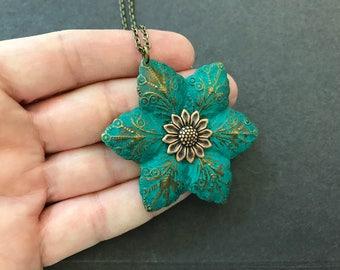 Boho Flower Necklace, Boho Wedding, Nature Inspired, Layering Necklace, Long, Turquoise Patina, Bohemian Necklace, Woodland Wedding, Floral