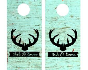 Wedding Yard game Cornhole Vinyl Decal Sticker Set, Corn Hole Decals, Rustic Wedding, Custom Cornhole Decals, Hunting Wedding Deer Antlers