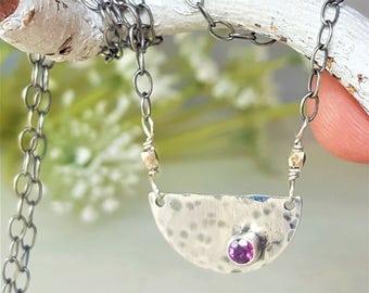 Pink RHODOLITE Half Moon Pendant Necklace Pink Gemstone Necklace