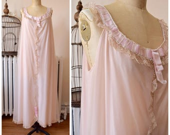Odette | Vintage 1960s Floaty Full Rose Gold Nightgown Tan Nylon Chiffon over Pink Nylon Lace and Satin Ribbon Trim Odette Barsa XL Bust 44""