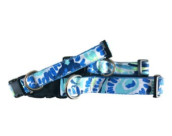 Dog Leash made with Lilly Pulitzer fabric - Turquoise & Blue Small/Large Sizes All Breeds - 'Sunset Swim'