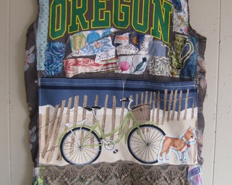 Oregon Moon Pioneer Prairie DRESS - Wearable Folk Art Fabric Collage Couture - Altered Linens Assemblage  - Eclectic  Artsy Artisan  myBonny