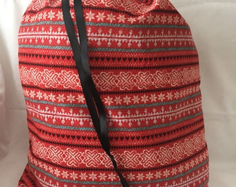 """Christmas Fabric Gift Bag  Eco Friendly Drawstring Bag----Reuseable size 15"""" wide x 18"""" tall Red and Gray SnowFlakes"""