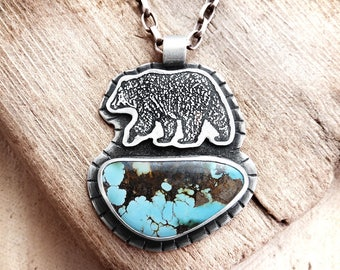 Bear necklace, turquoise sterling silver bear jewelry, wife gift for her husband gift for him, turquoise jewelry spirit animal, mama bear