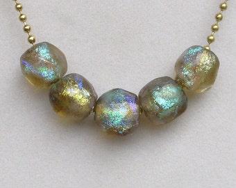 5 Lampwork Glass Handmade Basha Beads, One Available,Labradorite Series,Ancient Roman Glass Replica,Earthy,Organic,Small Statement Art Beads